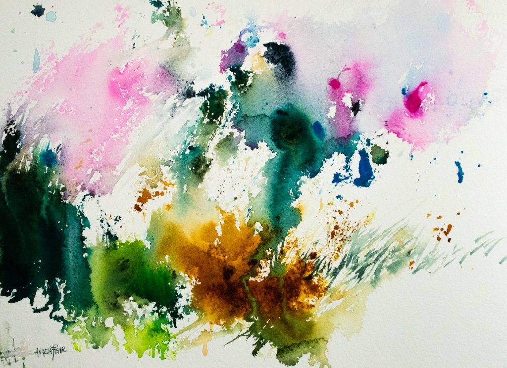 Abstract Watercolor Painting by Angela Fehr What's More Spontaneous Than A Mistake?