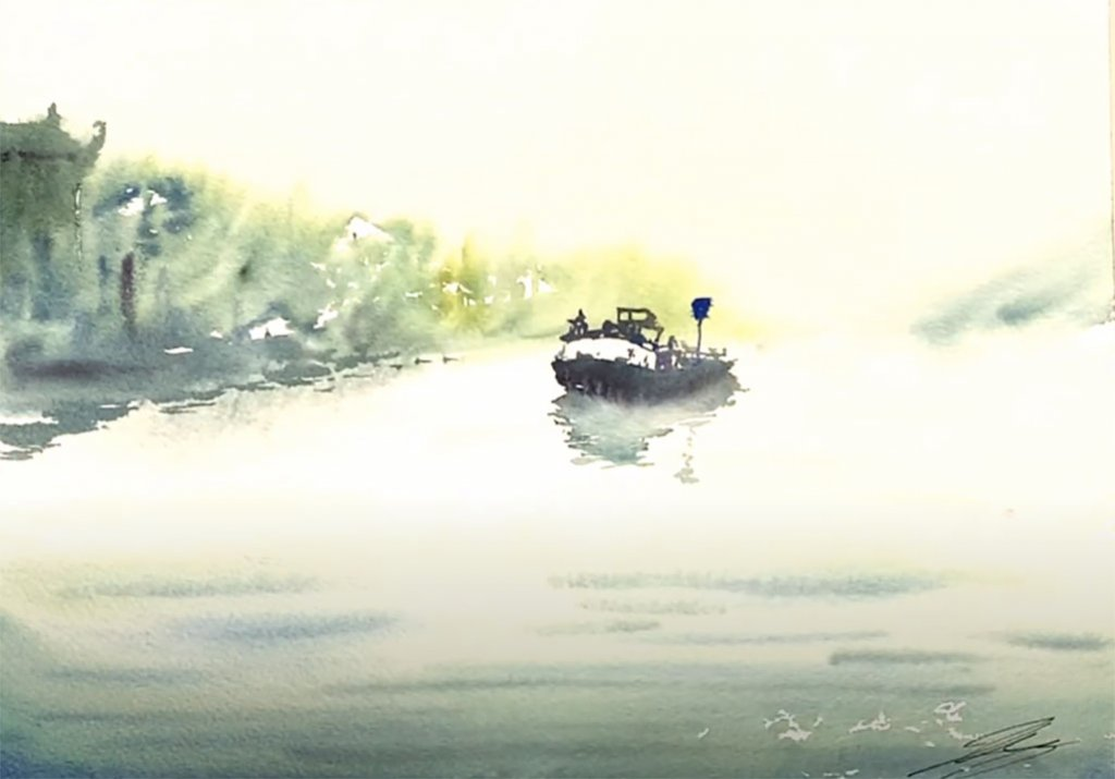 Monochromatic Watercolor Painting Example 3