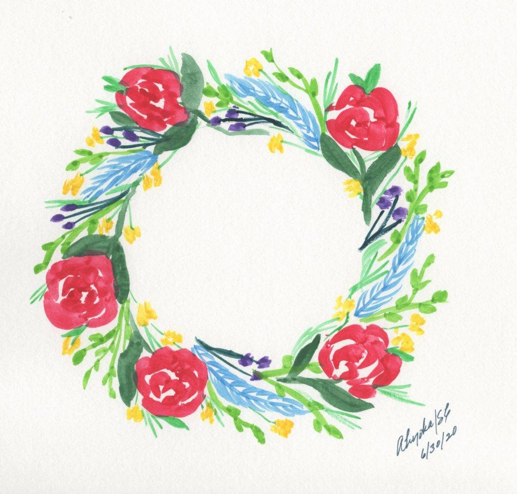 RING OF FLOWERS #doodlewashJune2020, Day 30 RING OF FLOWERS