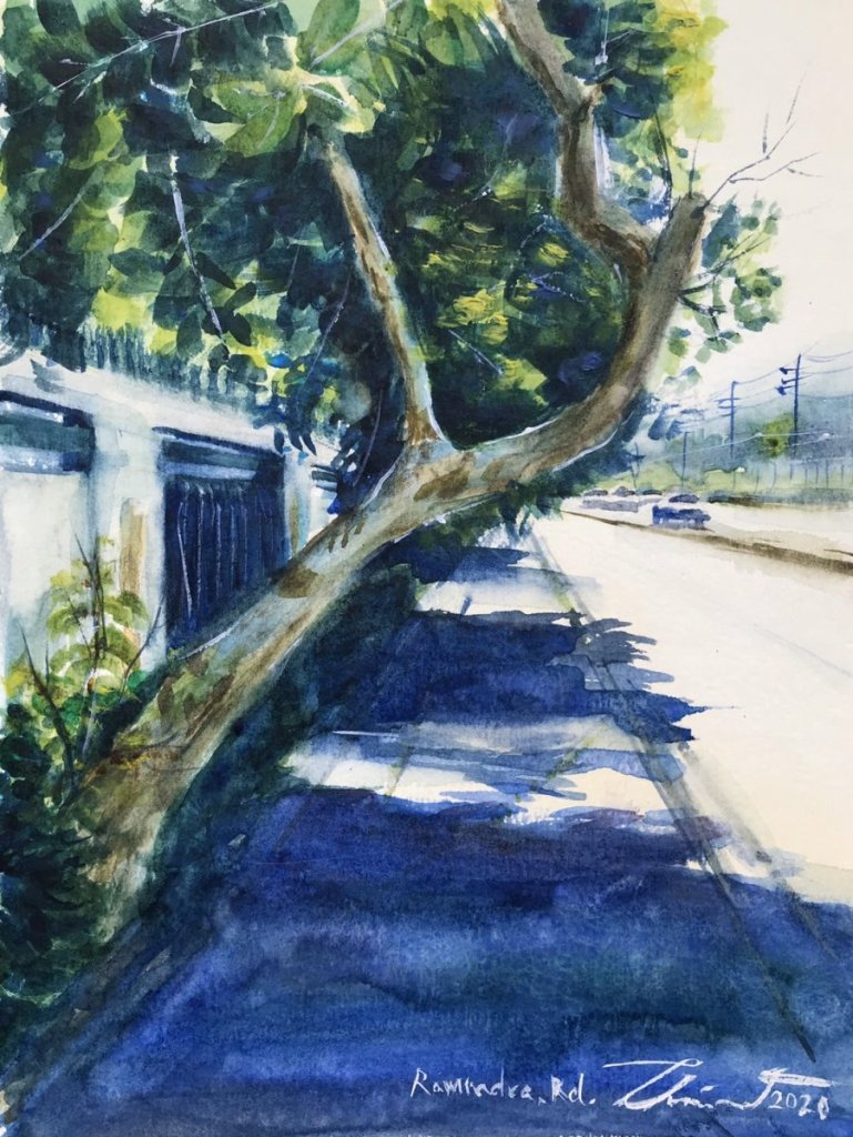 Name : Ramindra Road, Thailand. Technique : W&N cotman on 100% cotton paper . Size : 23cm. x 31c