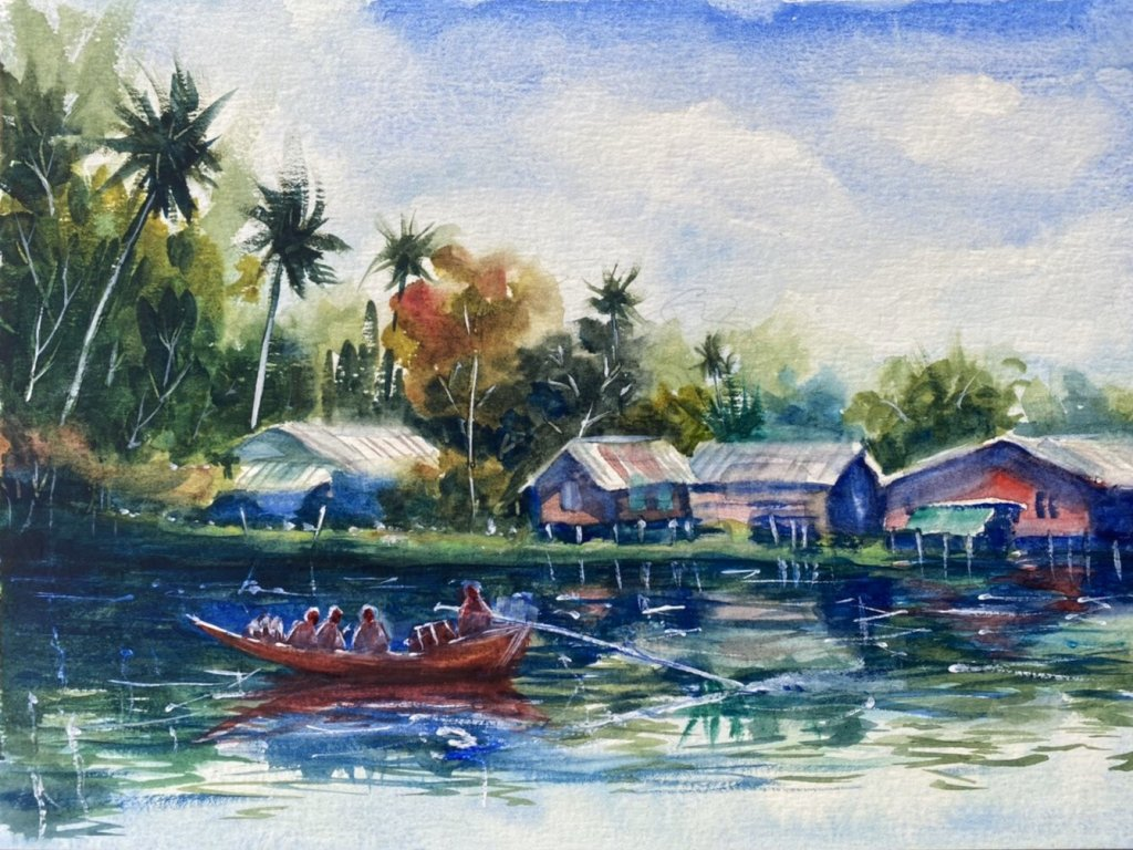 Name : Riverside, Thailand. Technique : W&N cotman on 100% cotton paper . Size : 23cm. x 31cm. A