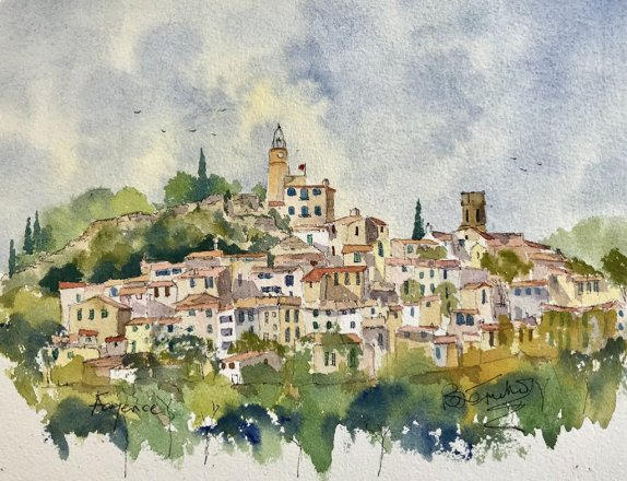 St Paul de Vence Buildings Watercolour Sketch Brian Tucker