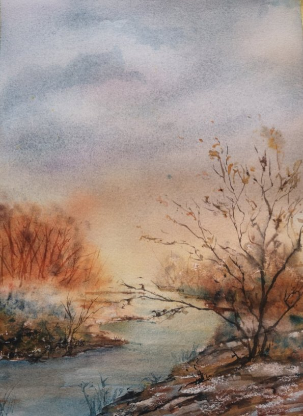 Sunset Landscape Watercolor Painting by Dagmar Olschewski