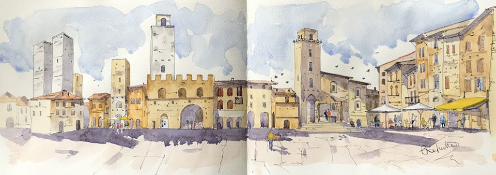 Urban Sketching Watercolour Sketchbook Spread Pages Brian Tucker