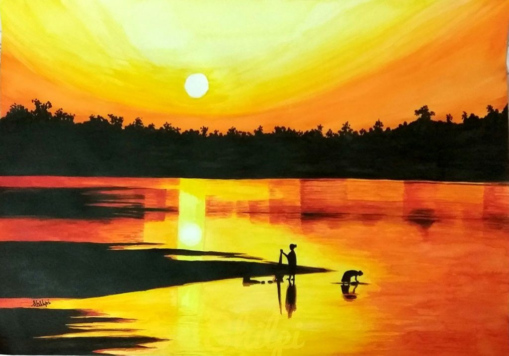 Watercolor Painting Lake At Sunset by Shilpi Gupta