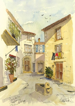 Watercolour Sketch of Saint Paul de Vence by Brian Tucker