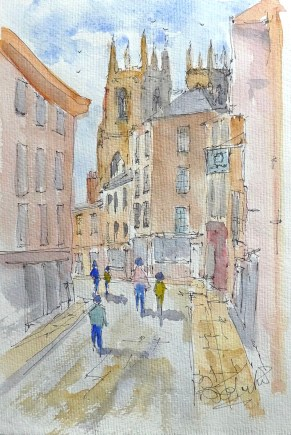 Watercolour Sketch of York by Brian Tucker