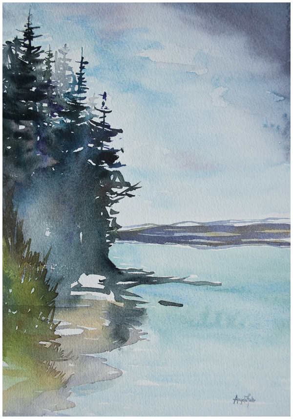 Final Watercolor landscape Painting Angela Fehr