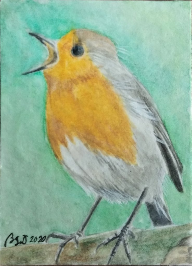"Just a random painting ""Robin"" 3.5 x 2.5 inches Watercolor on paper #WorldWatercolorMont"