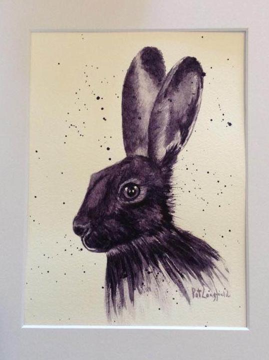 Black hare – monochrome using Daniel Smith Moonglow Black Hare