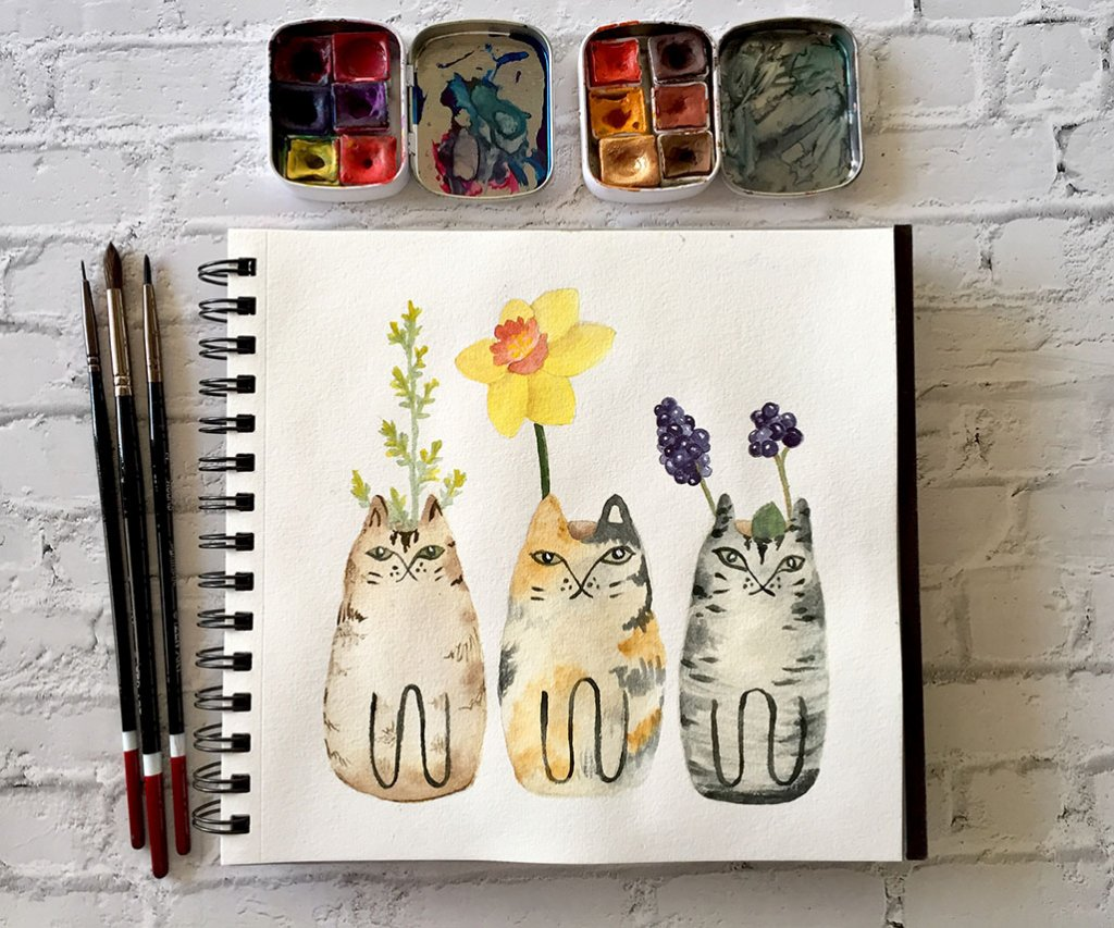 Cats and Flowers Watercolor