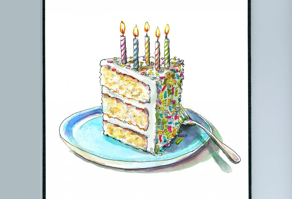 Birthday Cake Candles Five Watercolor Illustration Painting Sketchbook Detail