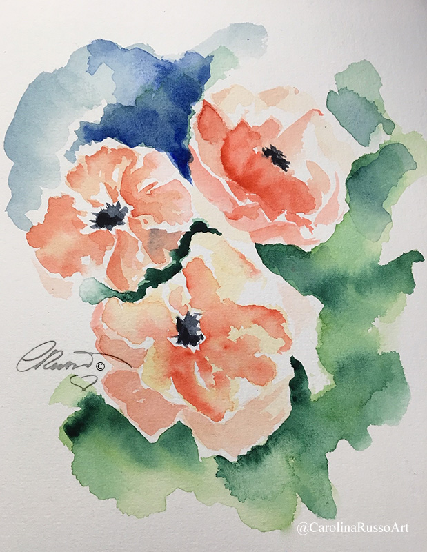 World Watercolor Month 2020 – Day 1 Poppies Day 1 Poppies