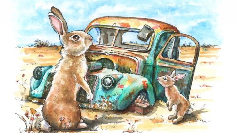 Rusted Car Abandoned Rabbits Watercolor Painting Illustration