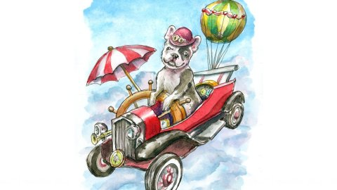 Steampunk Flying Machine French Bulldog Watercolor Painting Illustration