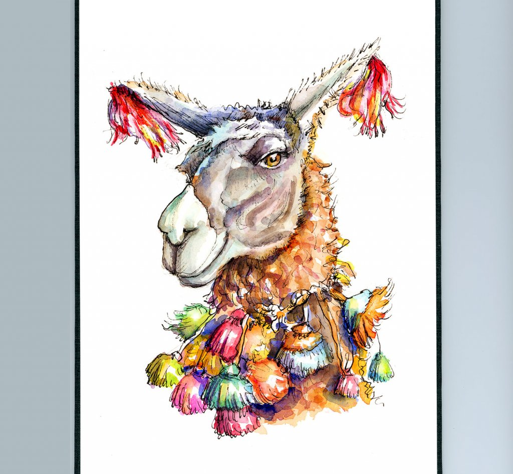 Llama Head Eyes Colorful Watercolor Illustration Painting Sketchbook Detail