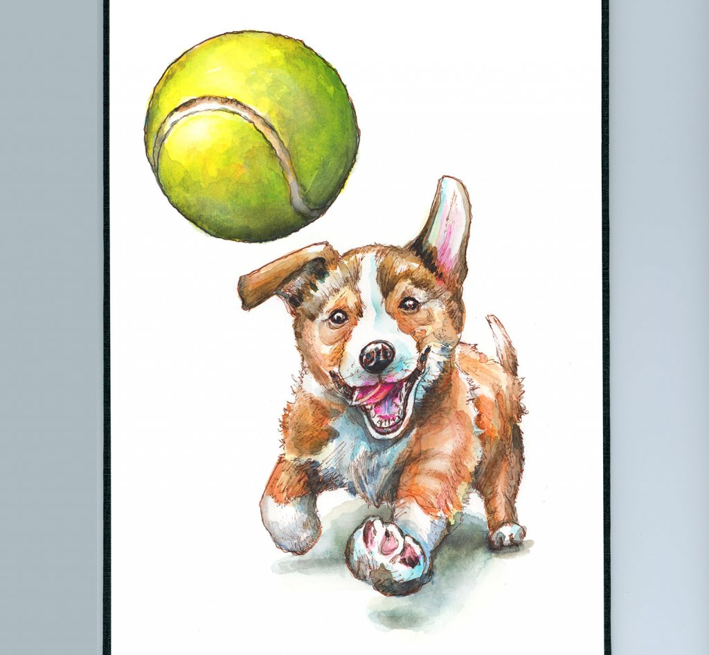 Puppy Chasing Tennis Ball Watercolor Painting Illustration Sketchbook Detail