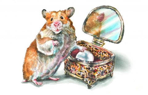 Antique Jewelry Box Golden Hamster Pearl Watercolor Painting Illustration