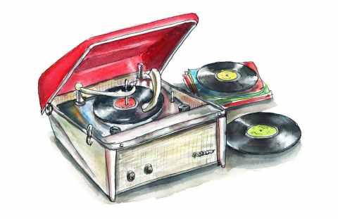 Record Player Retro Vintage Motorola Calypso Watercolor Painting Illustration