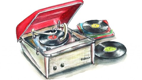 Record Player Retro Vintage Motorola Calypso Watercolor Painting Illustration