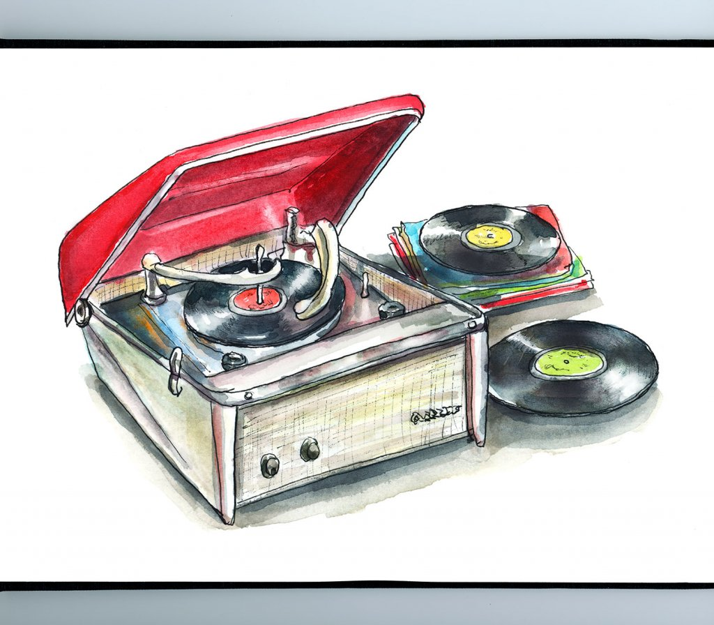 Record Player Retro Vintage Motorola Calypso Watercolor Painting Illustration Sketchbook Detail