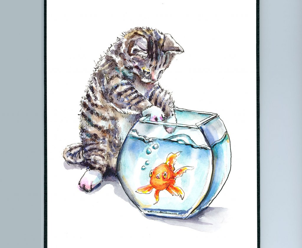 Kitten Cat Reaching Into Goldfish Bowl Watercolor Illustration Painting Sketchbook Detail