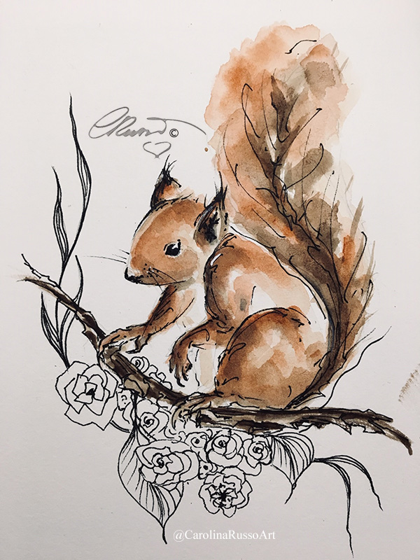 World Watercolor Month 2020 – Day 3 Playful Day 3 Playful Squirrel_s