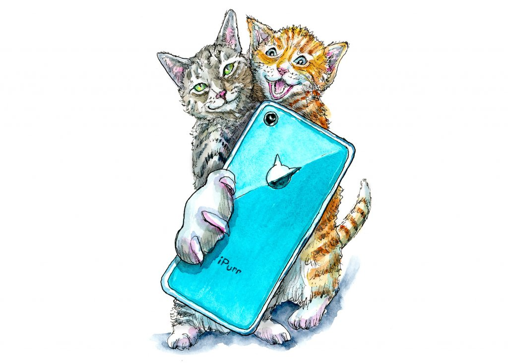 Cat Selfie Cats Taking Selfie With Phone Watercolor Painting Illustration