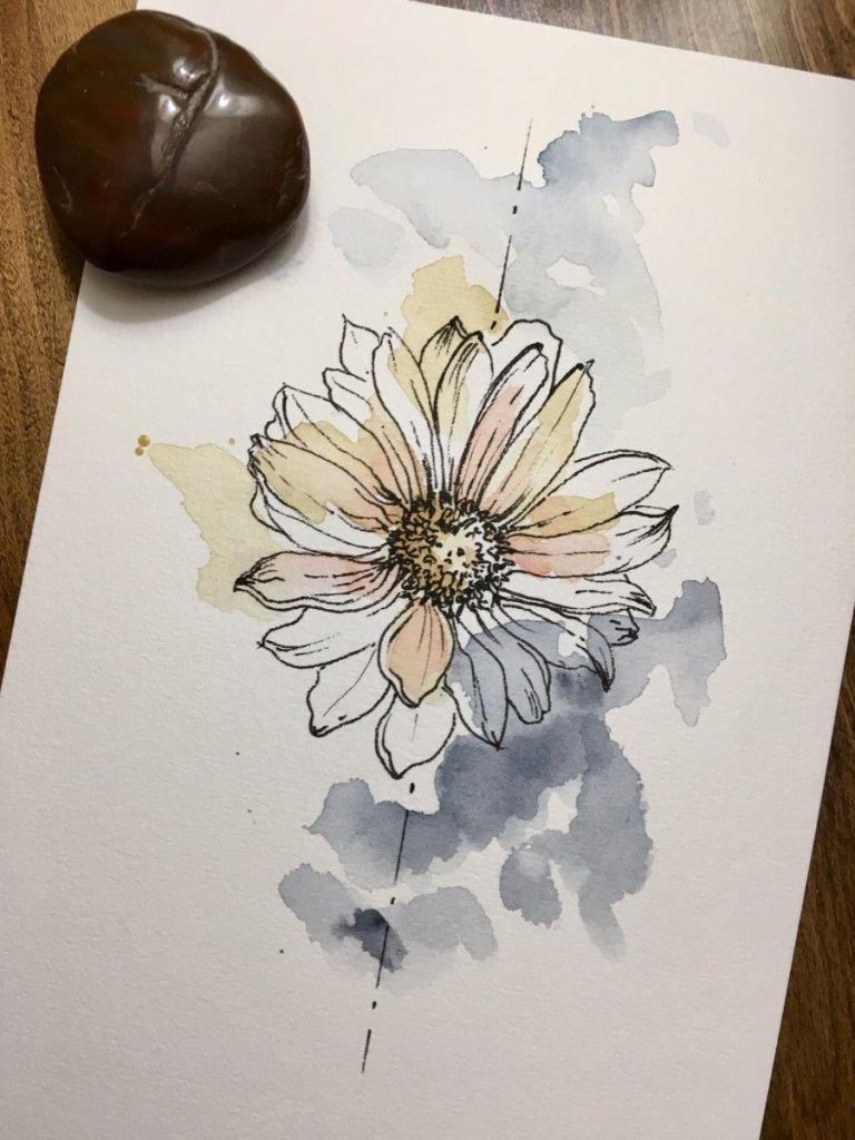 World Watercolor Month 2020 – Day 5 Daisy Day 5_s