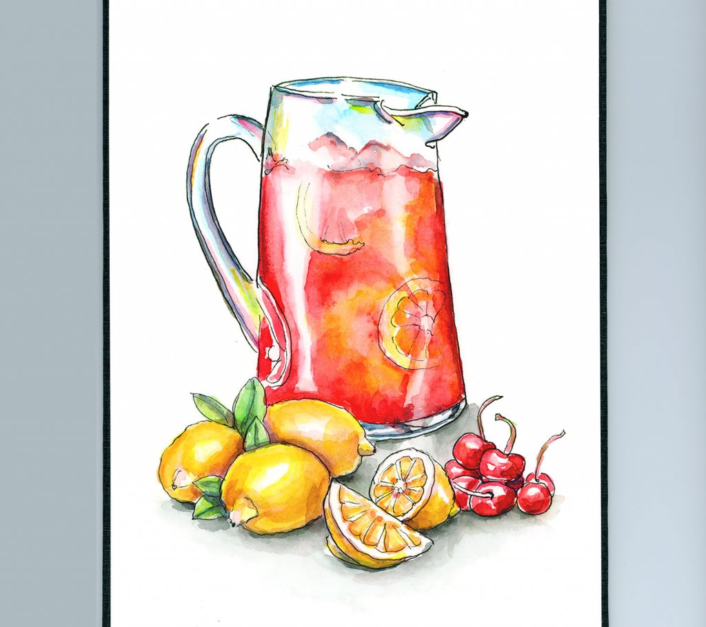 Cherry Lemonade Lemons Cherries Watercolor Illustration Painting Sketchbook Detail