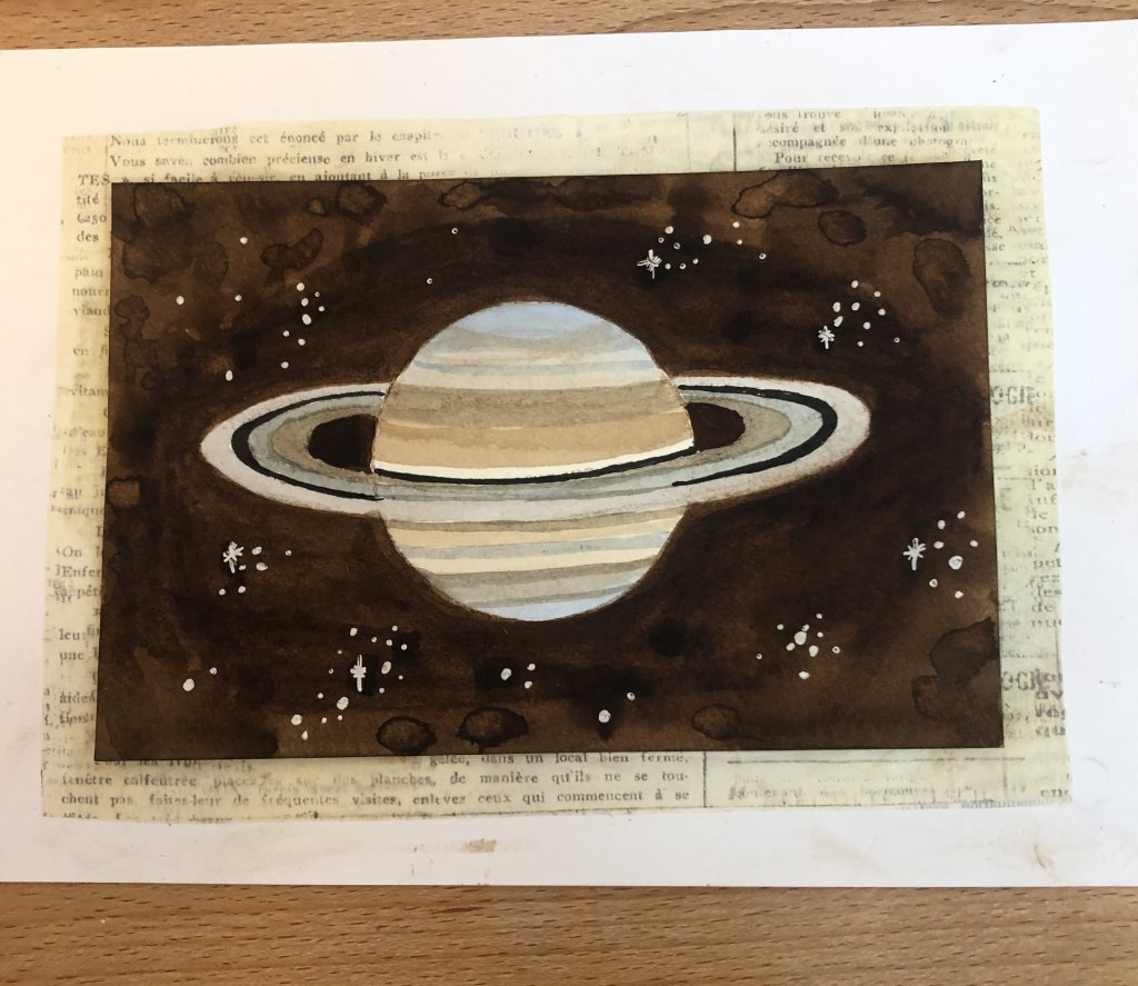 For July 11, the prompt is ROUND. My son gave me the idea to do a planet. I chose Saturn so I could