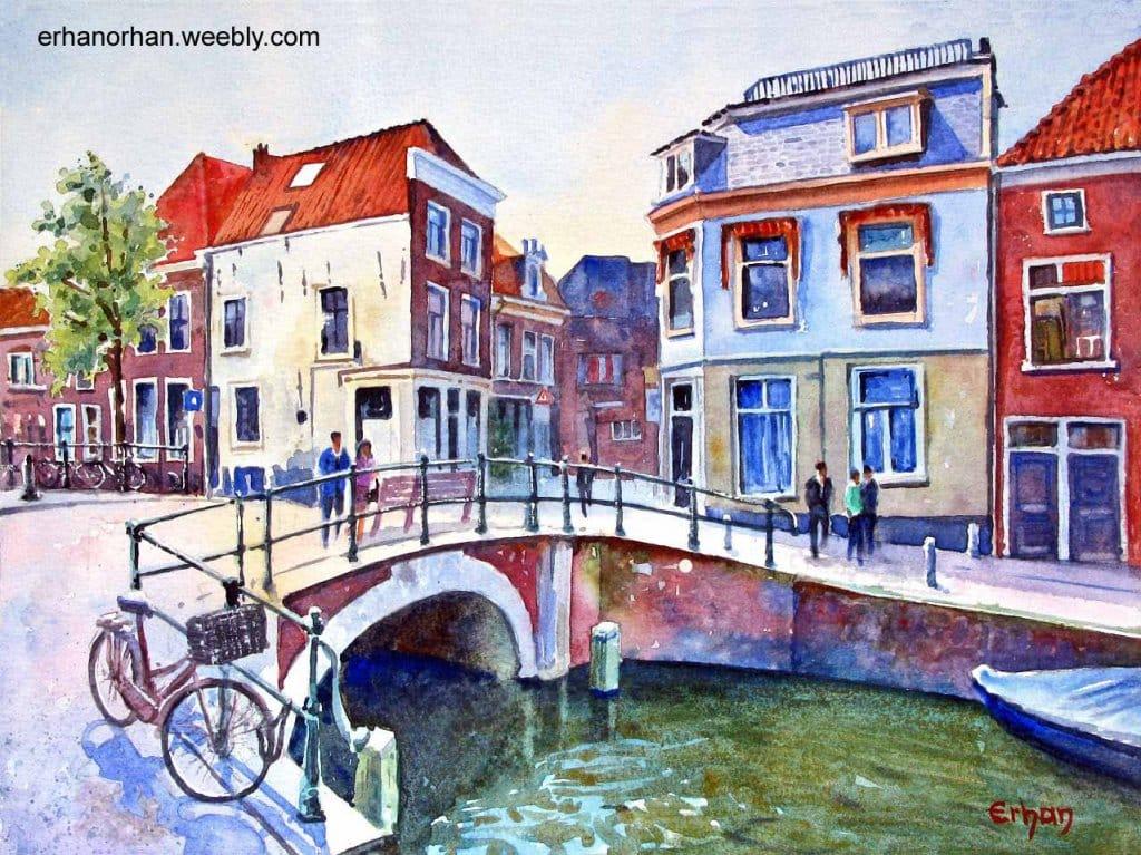 """Bakenessergracht"", Haarlem, Holland, watercolor 26×36 cm Erhan Orhan-Bakenessergra"