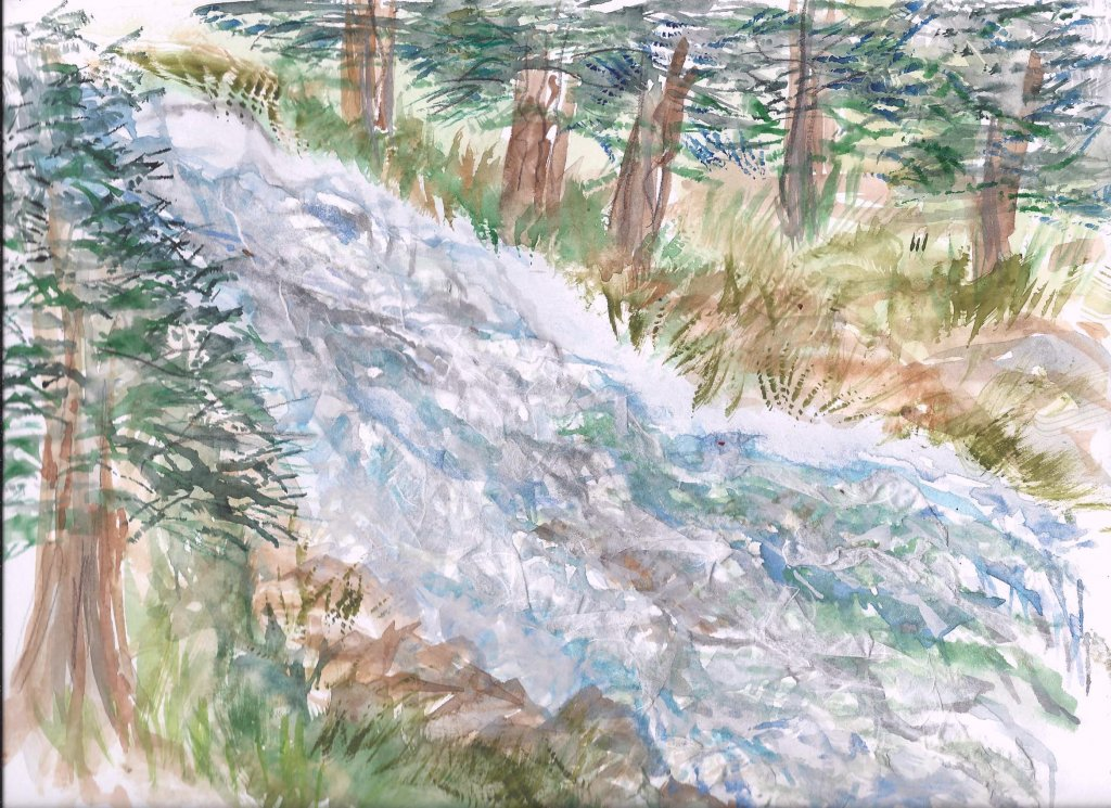 The flowing water is a joy in the Rockies! Its a bit hard for you to see the rice paper collaged on