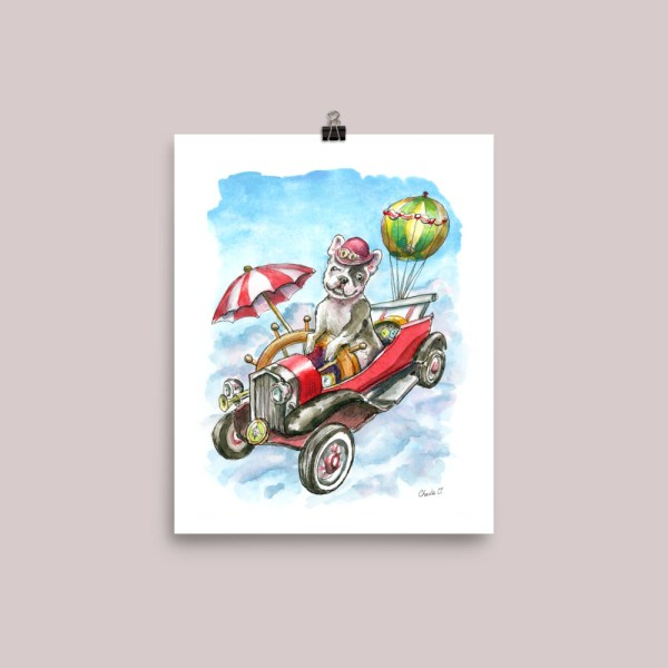 Steampunk Flying Machine with French Bulldog Watercolor Print Main Image