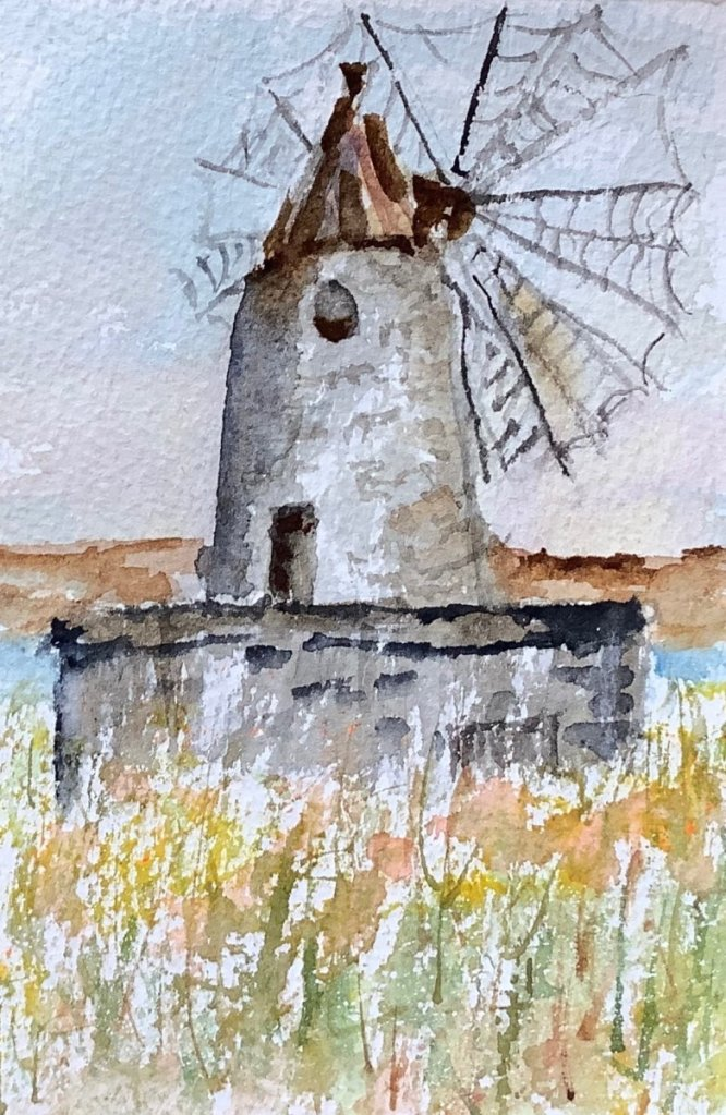 #worldwatercolormonth day 23: alone: a lonely, unused windmill in the salt flats of Trapani, Italy I