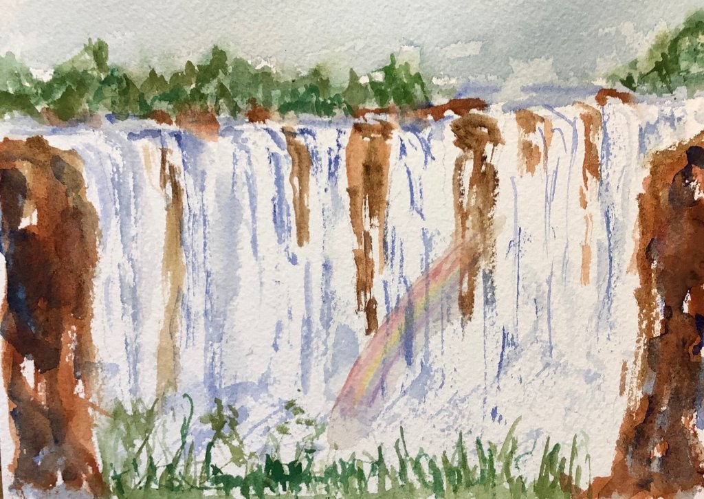 #worldwatercolormonth; day 6 Flow; Victoria Falls Zambia strongly flows IMG_2020
