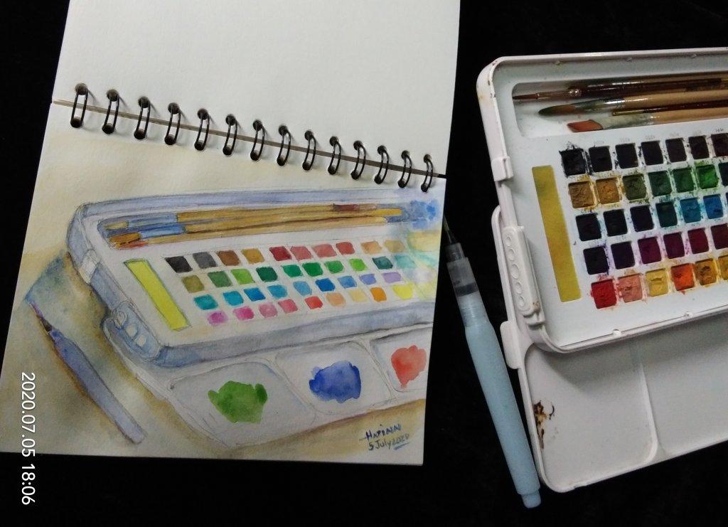 #doodlewashJuly2020 #WorldWatercolorMonth #Beginner #5 #FavoriteColor #5July2020 Today prompt is fav