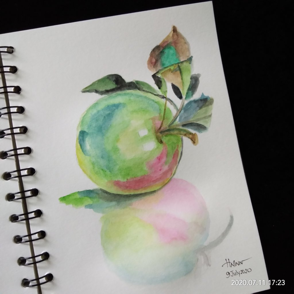 #doodlewashJuly2020 #WorldWatercolorMonth #Beginner #9 #Fruit #9July2020 Fruit prompt….. I cho