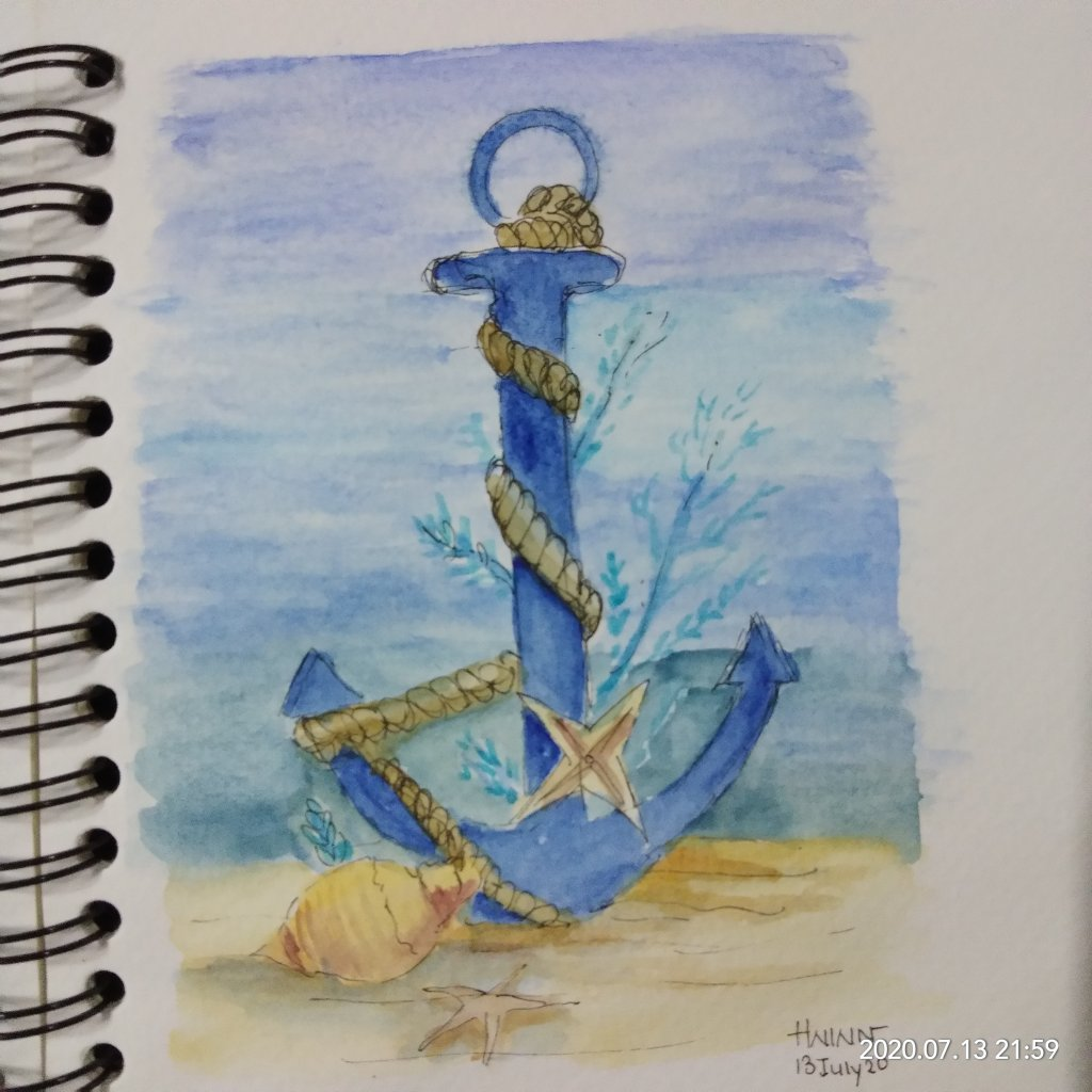 #doodlewashJuly2020 #worldwatercolormonth2020 #Beginner #13 #Twisted #AnchorAndRope #13July2020 For