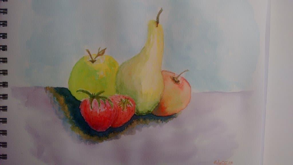 Acuarela, formato 21×27.9 cm papel Fabriano 200g/m2 Abundancia de Frutas IMG_20200724_172724809