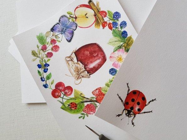 Ladybug and Jam Watercolor Painting by Jitka Zajíčková