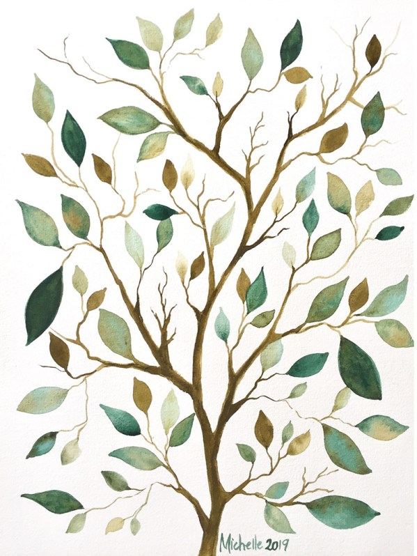 Leaf Pattern Watercolor by Michelle Gonzalez