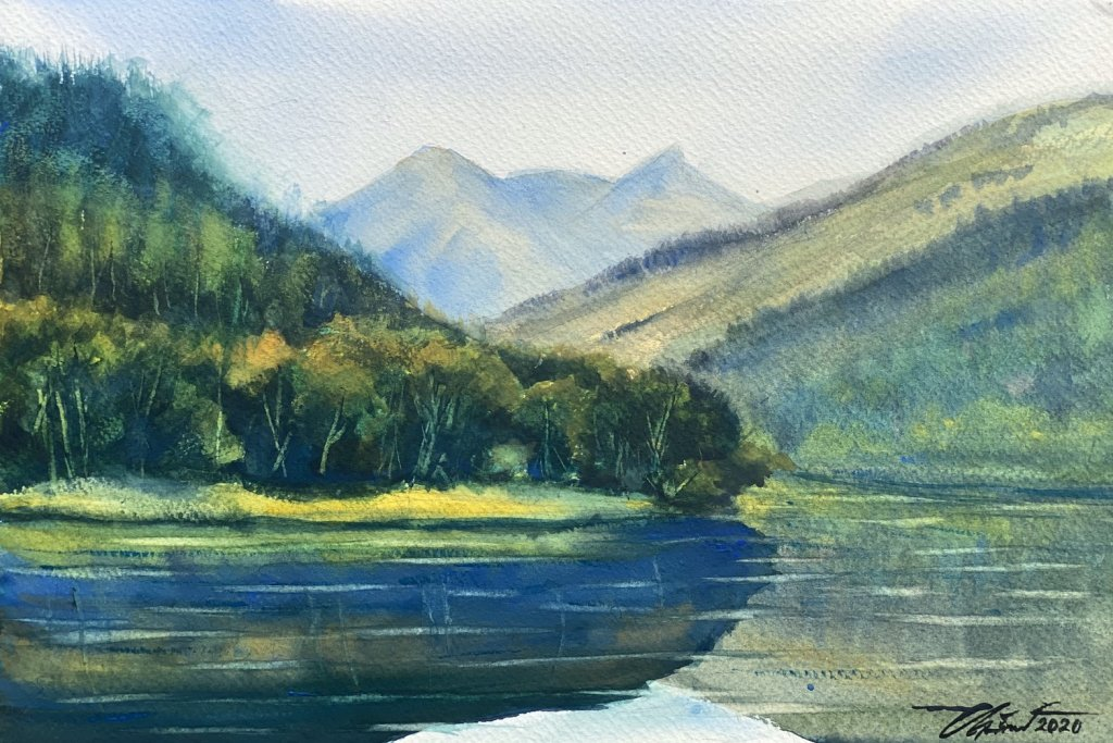Name : Loch Meig – Scotland. Technique : Watercolor on 100% cotton paper . Size : 30.5cm. x 45