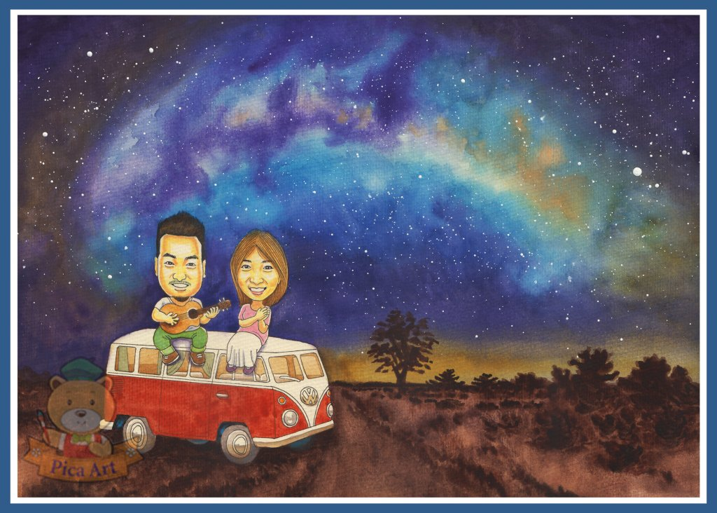 #CaricatureArtist #EricThong #PicaArt #WaterColour #Q版人像画 #Milkyway #Volkswagen #幸運星Mi