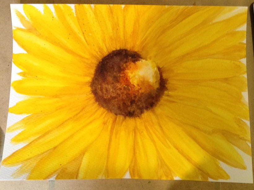 Sunflower – from a tutorial by Jean Haines Sunflower