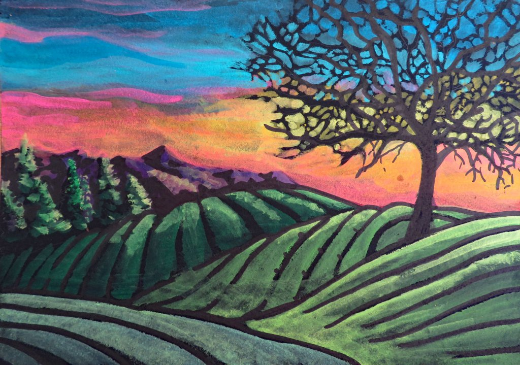 Watercolor Painting Landscape On Black Paper Example