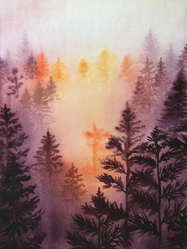 Trees Fog Watercolor by Michelle Gonzalez