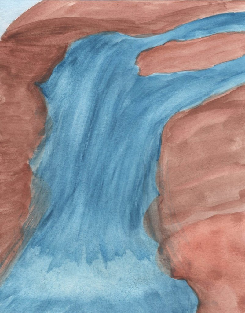 """#worldwatercolormonth, July 2020, Day 8: """"FALL"""" WATERFALL IN WATERCOLOR"""