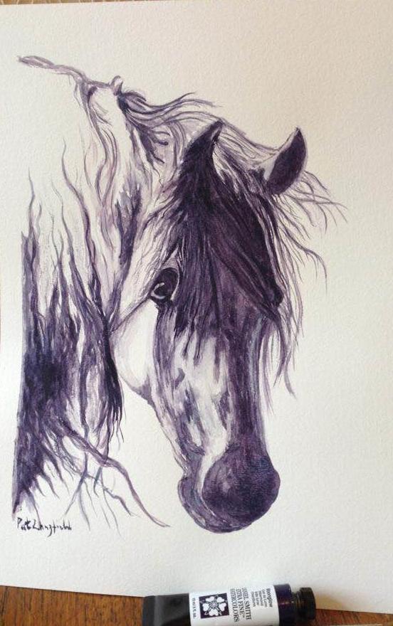 Sad Horse – monochrome using Daniel Smith Moonglow horse1