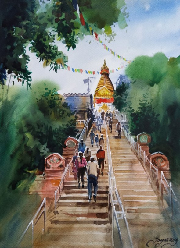 ishan_pariyar_Swyambhunath_watercolor_on paper_2019